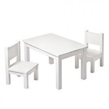 Lot de 2 chaises en bois Hevea Blanches
