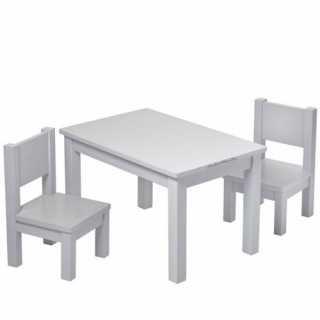 Lot de 2 chaises en bois Hevea Grises