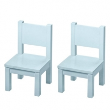 Lot de 2 chaises en bois Hevea Bleues
