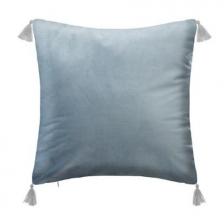 Coussin décoratif bleu 4 pompons
