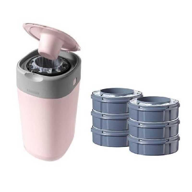 Poubelle à couches Sangenic Twist & Click Rose + 6 recharges