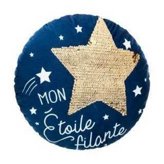Coussin décoratif ronde étoile Bleu