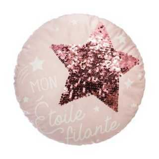 Coussin décoratif ronde étoile Rose
