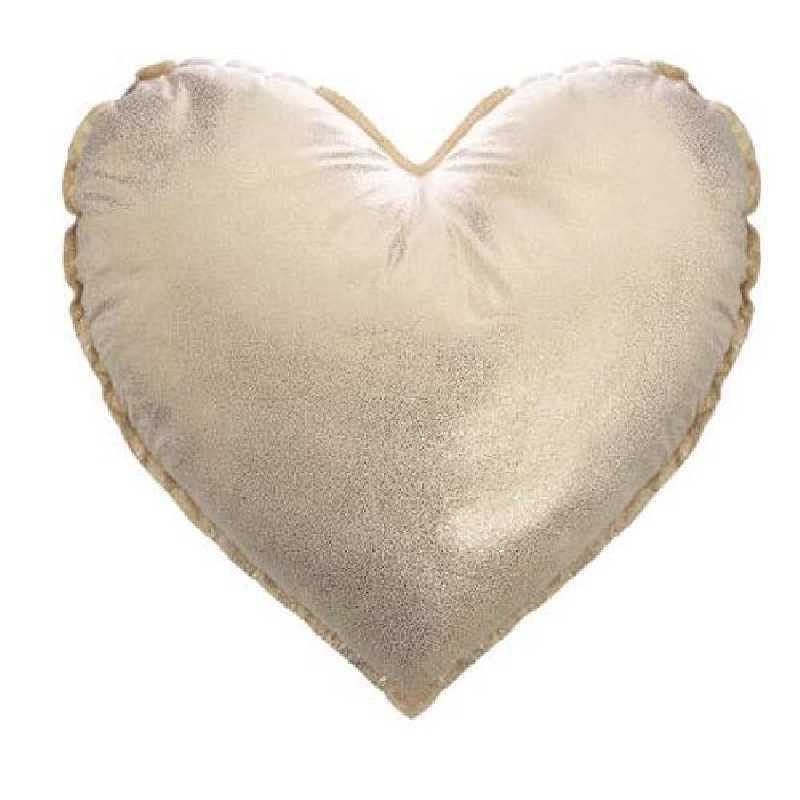 Coussin décoratif coeur doré