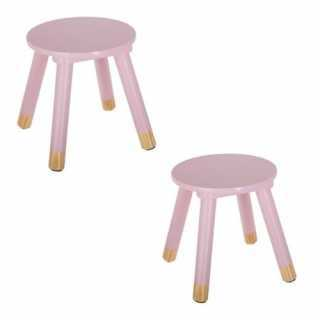 Lot de 2 tabourets enfant Rose