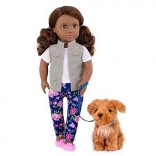 Poupée 46 cm avec son chien Malia