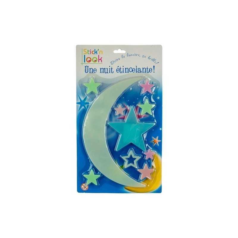 Lune et étoiles phosphorescentes pour chambre enfant
