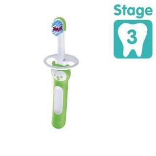 Brosse de dents bébé avec bouclier de sécurité Vert