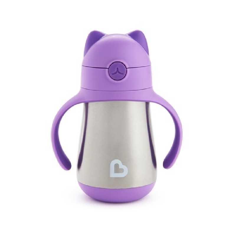Tasse en acier inoxydable avec paille Violet 240ml
