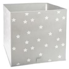 Meuble 2 niveaux Gris + 6 paniers de rangement étoiles grises