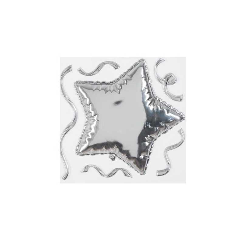 Sticker ballon étoile Argent