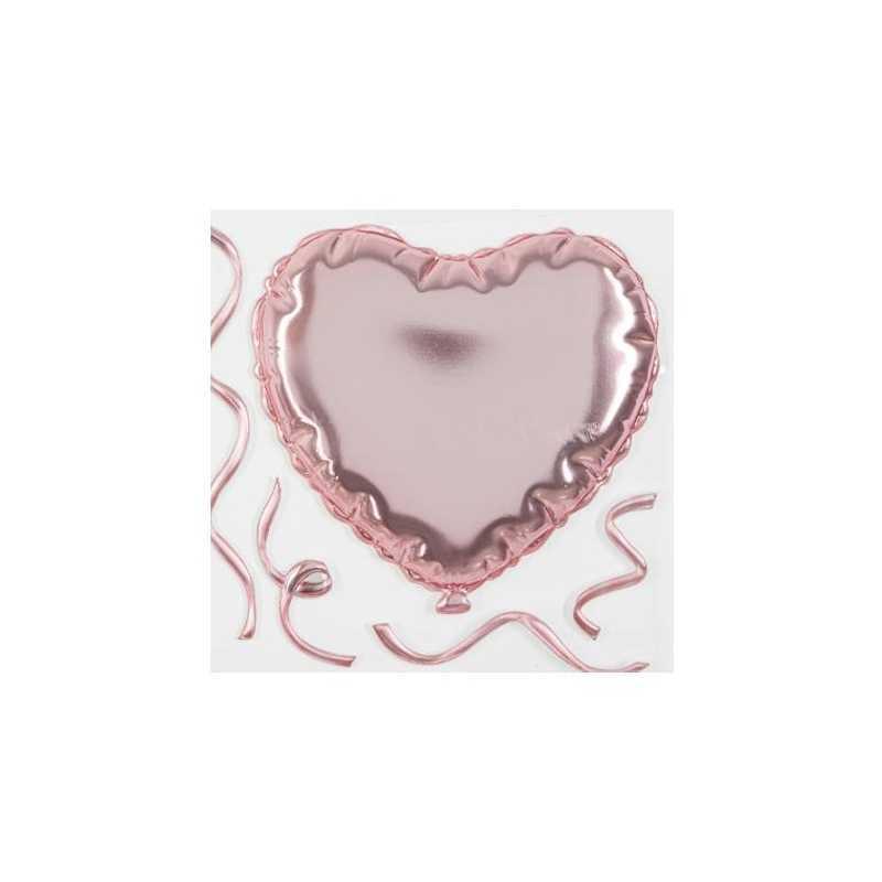 Sticker ballon coeur Rose