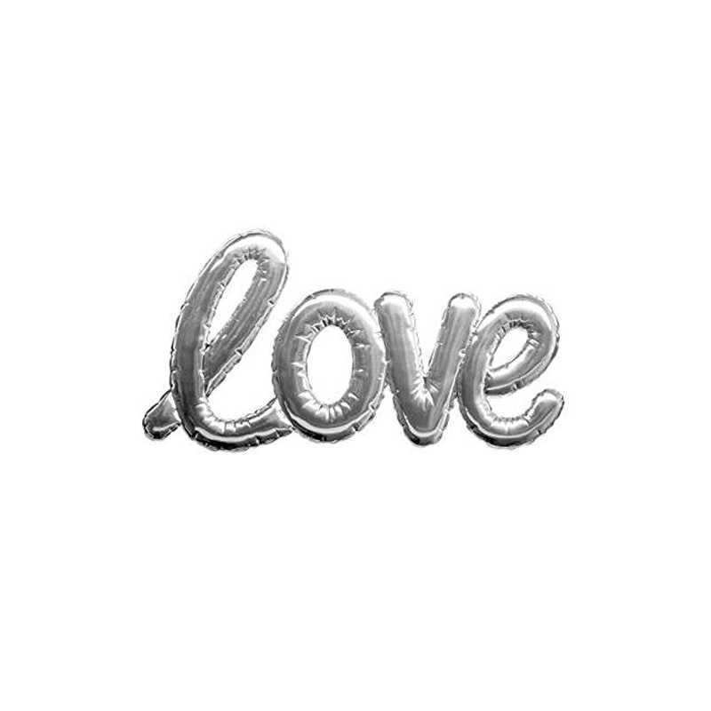 Sticker ballon Love Argent