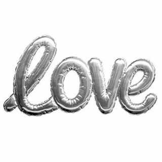 Sticker ballon Love Argent