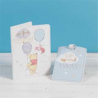 Etiquette de passeport et de bagage Bleu Winnie L'Ourson