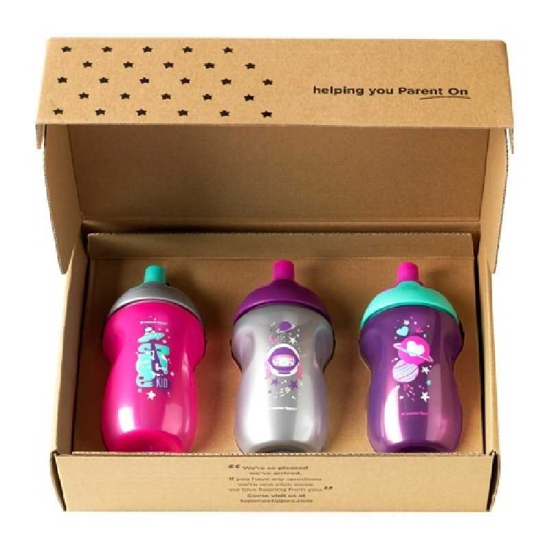 Lot de 3 tasses enfant Sporty Rose 12 mois+