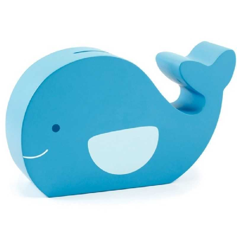 Tirelire en bois Baleine Bleu