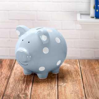 Tirelire en Céramique Cochon Bleu