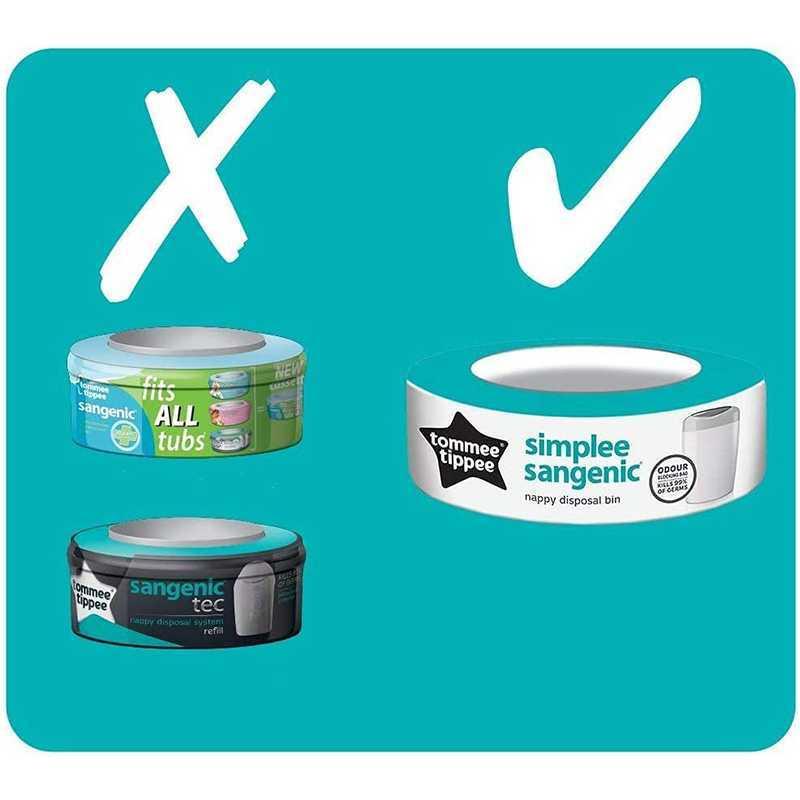 Sangenic Poubelle à Couches SIMPLEE - Bleu + 1 Recharge