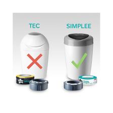Sangenic Poubelle à Couches SIMPLEE - Blanc / Gris + 1 Recharge