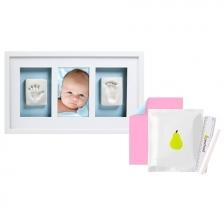 Cadre double empreinte de bébé Blanc