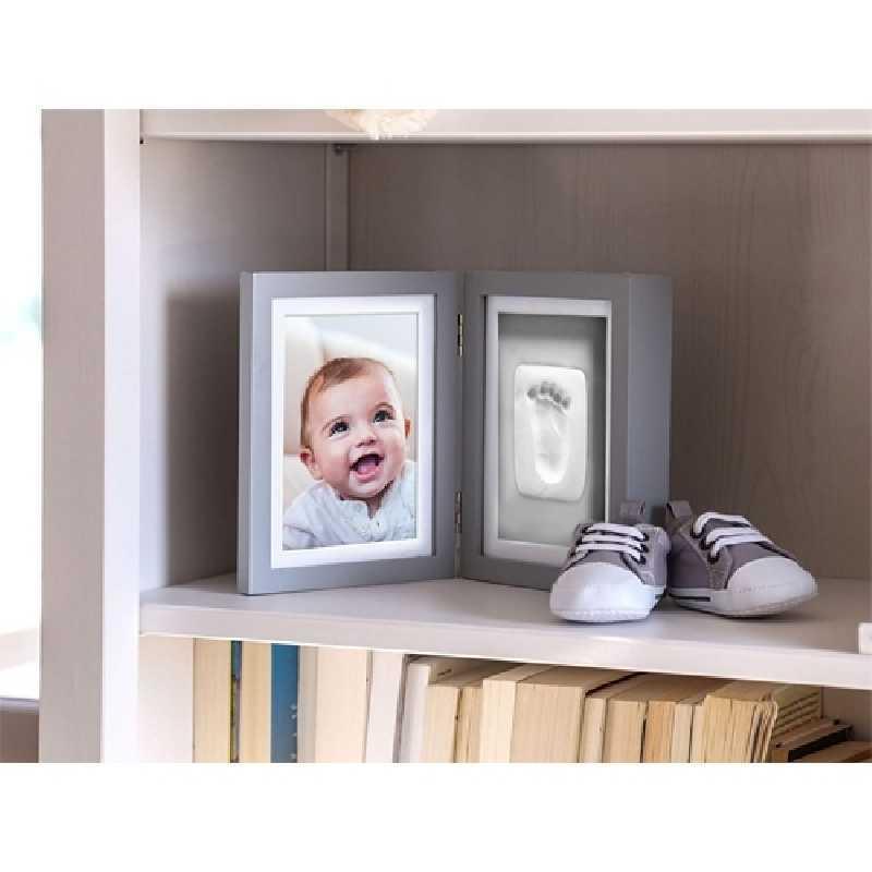 Cadre de bureau pour empreinte de bébé Gris