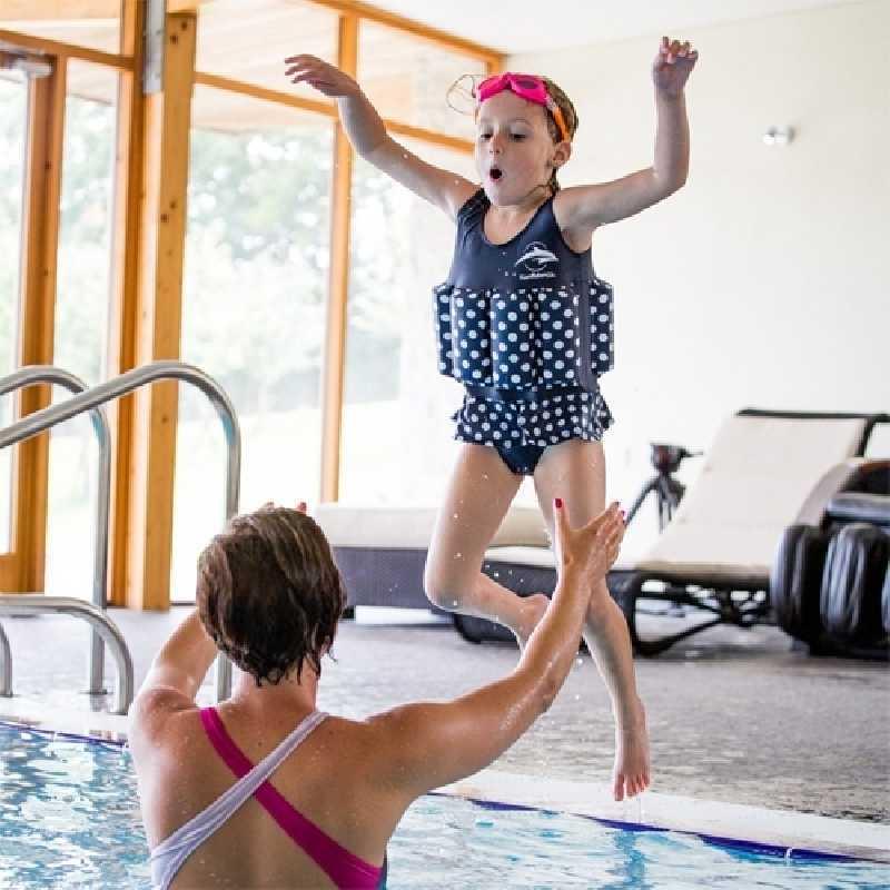 Maillot de Bain Bouée intégrée 1-2 ans Bleu pois