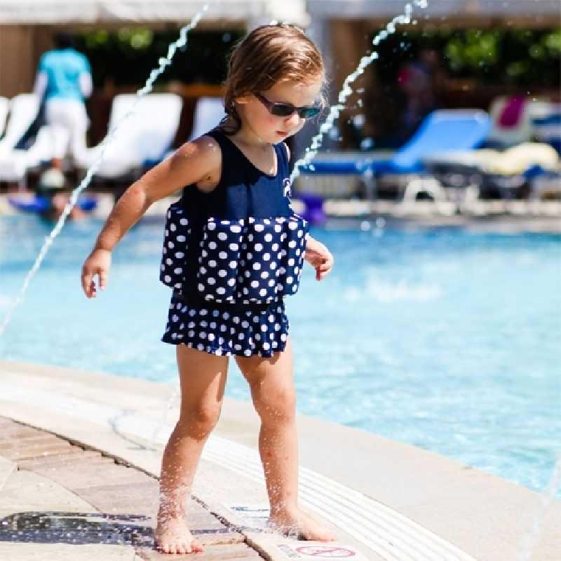 Maillot de Bain Bouée intégrée 4-5 ans Bleu pois