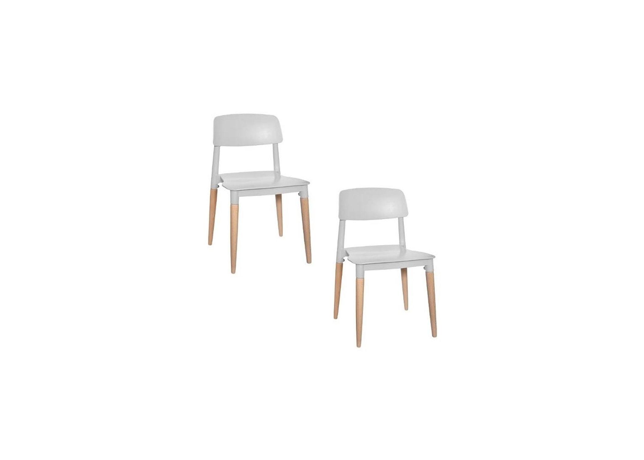 Lot de 2 chaises Design Polypropylène Grises