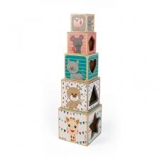 Janod Pyramide en Bois Avec 5 Cubes Sophie La Girafe