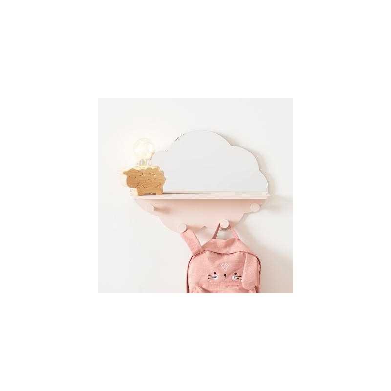 Patère en Forme de Nuage avec Miroir Rose Atmosphera For Kids