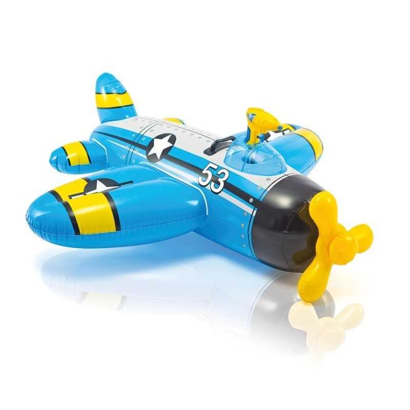 Matelas gonflable Avion à chevaucher avec pistolet a eau bleu