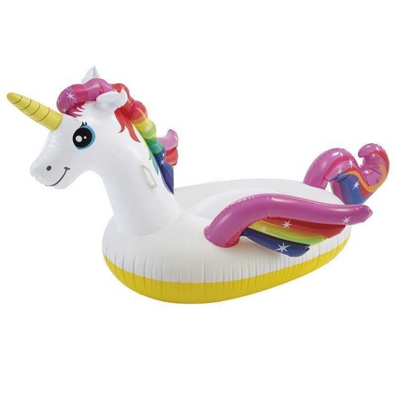 Matelas gonflable en forme de licorne a chevaucher