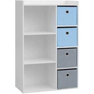 Meuble de rangement pour garçon 3 niches + 4 tiroirs Bleu et gris