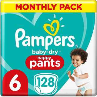 Pampers - Baby Dry Nappy Pants - Couches Taille 6 (15kg+) - Pack 1 mois (x128 culottes)