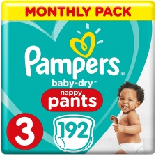 Pampers - Baby Dry Nappy Pants - Couches Taille 3 (6-11kg) - Pack 1 mois (x192 culottes)