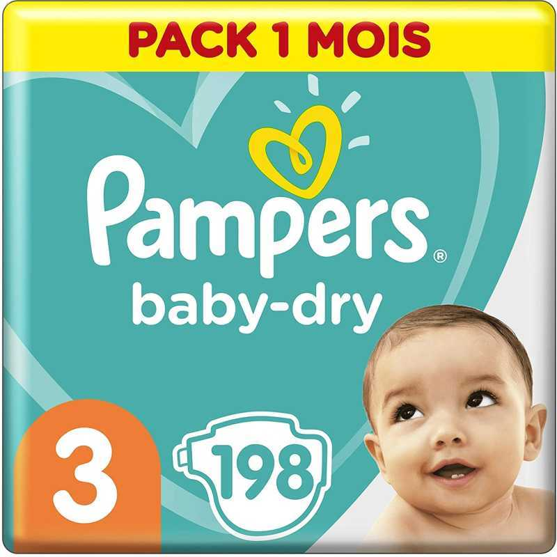 Pampers - Baby Dry Couches Taille 3 (6-10 kg) - Pack 1 mois (198 couches)