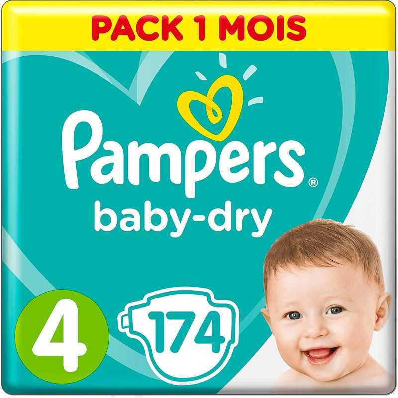 Pampers - Baby Dry Couches Taille 4 (9-14 kg) - Pack 1 mois (174 couches)