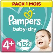 Pampers - Baby Dry Couches Taille 4+ (10-15 kg) - Pack 1 mois (152 couches)