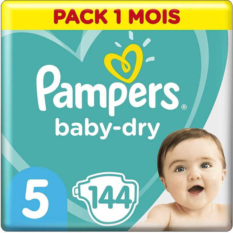 Pampers - Baby Dry Couches Taille 5 (11-16 kg) - Pack 1 mois (144 couches)