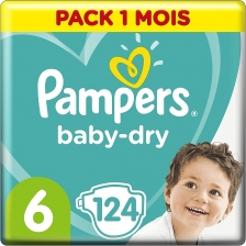 Pampers - Baby Dry Couches Taille 6 (13-18 kg) - Pack 1 mois (124 couches)