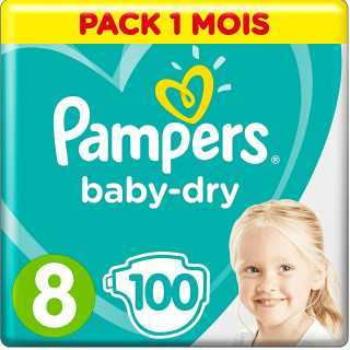 Pampers - Baby Dry Couches Taille 8 (17 kg+) - Pack 1 mois (100 couches)