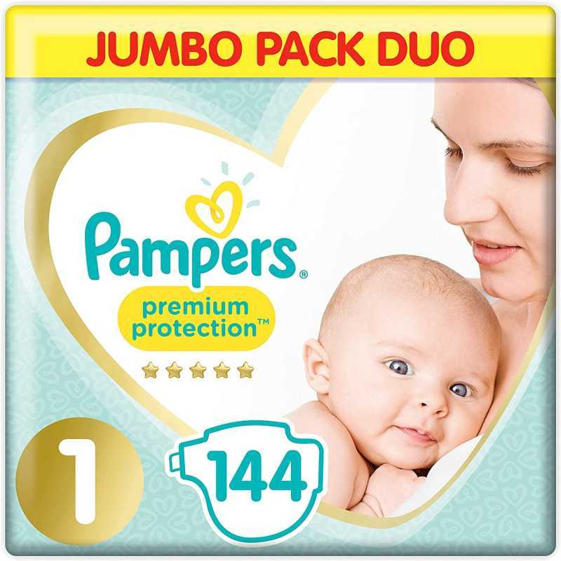 Pampers - Premium protection Couches Taille 1 (2-5 kg) - Pack 1 mois (144 couches)