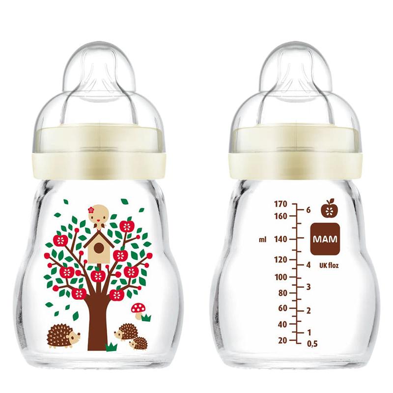 MAM Biberon Verre 170ml 0+ mois - Tétine Débit 1 Blanc