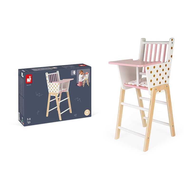 Chaise Haute en bois pour Poupées Candy Chic Janod