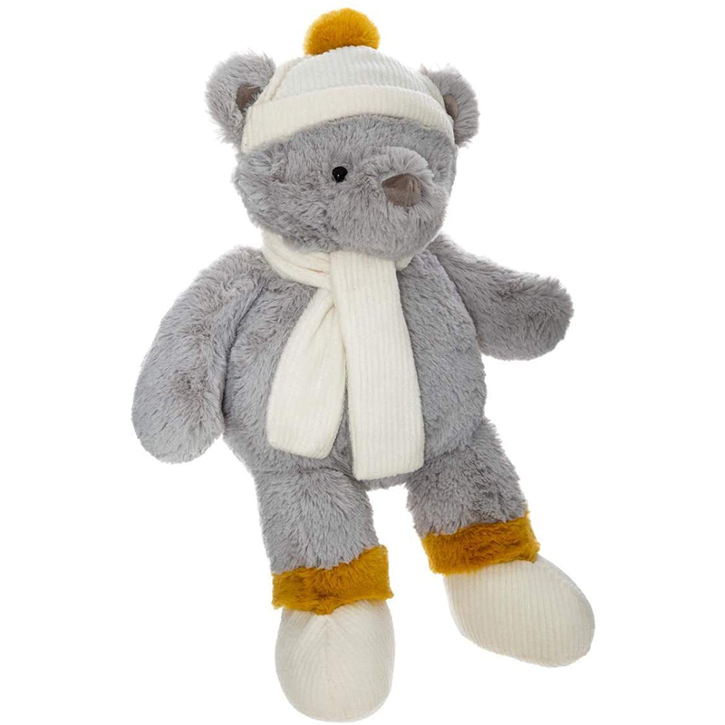 Peluche ours hiver H45 Gris Atmosphera