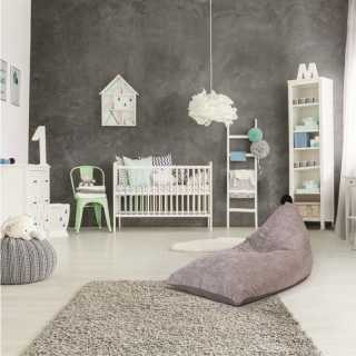 Pouf Velours Cotele Gris Malo Home Deco Kids