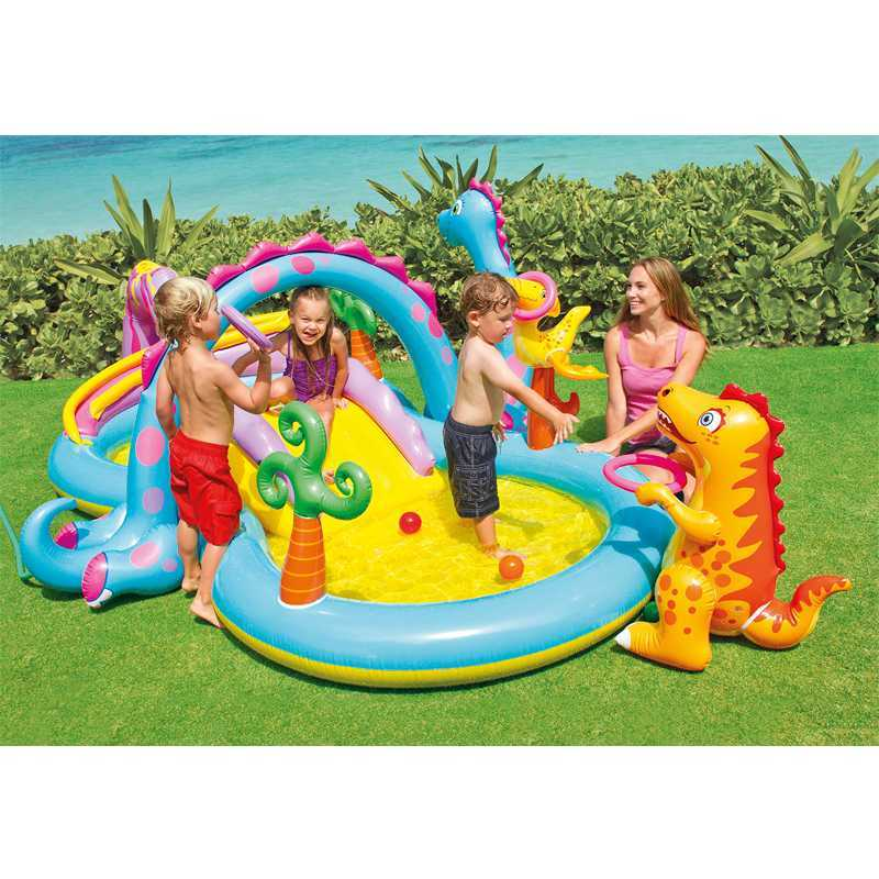 Piscine aire de jeu gonflable - Dinoland - Avec toboggan Intex