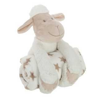 Plaid + Peluche Mouton Blanc Atmosphera
