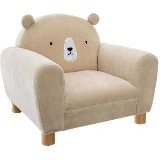 Pack : Fauteuil enfant ours beige + Coussin rond ours beige